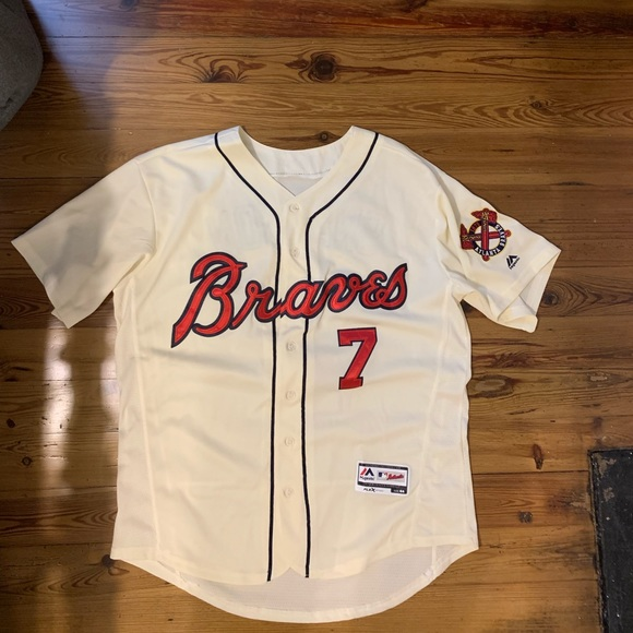 quality design 63c07 b3c3f Dansby Swanson Throwback Braves Jersey